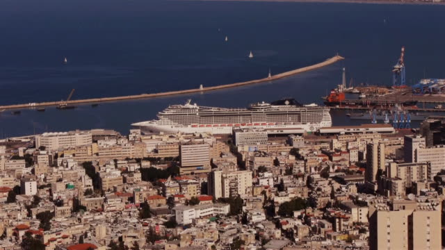 cruise ship in haifa - seen from above - haifa stock videos and b-roll footage