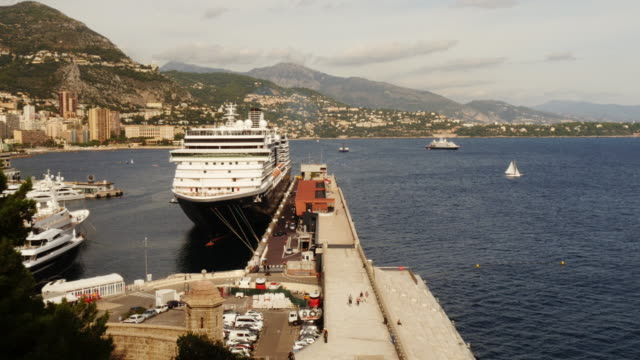 cruise ship in the monaco harbour port hercules with mountains in background - exclusive stock videos & royalty-free footage