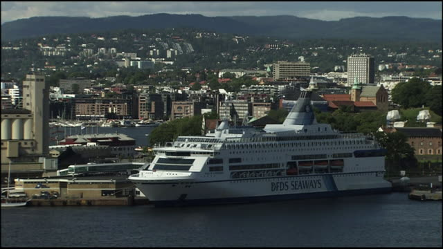 a cruise ship is anchored in oslo, norway. - anchored stock videos & royalty-free footage