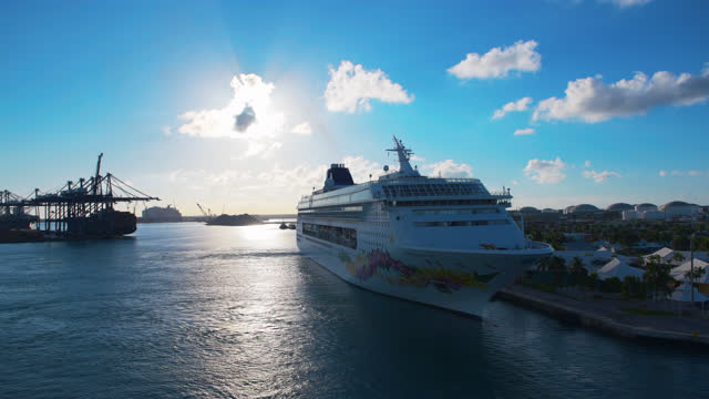 cruise ship moored in the port of freeport, bahamas - bahamas stock videos & royalty-free footage