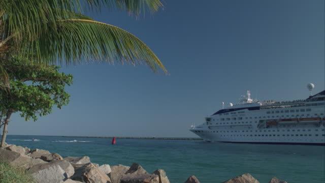 ws cruise ship moving toward open ocean - solfjäderspalm bildbanksvideor och videomaterial från bakom kulisserna