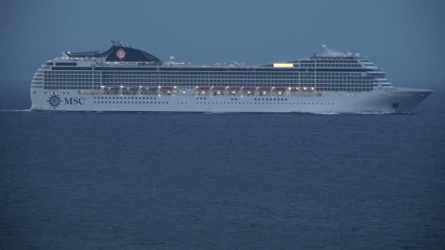 vídeos de stock, filmes e b-roll de cruise ship msc orchestra. fjord near stavanger, rogaland, norway, scandinavia, europe - navio cruzeiro