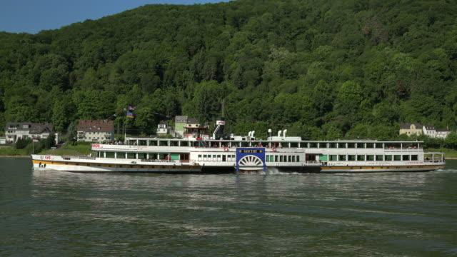 cruise ship near schloss stolzenfels, koblenz, rhine valley, rhineland-palatinate, rheinland-pfalz germany, deutschland - deutschland stock videos & royalty-free footage