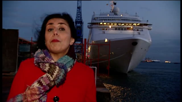 cruise ship oriana docks after trip hit by norovirus bug hampshire southampton ext reporter to camera carol marlow interview sot - southampton hampshire stock-videos und b-roll-filmmaterial