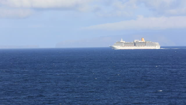 Cruise Ship Sails Into Atlantic Ocean, Madeira, Portugal