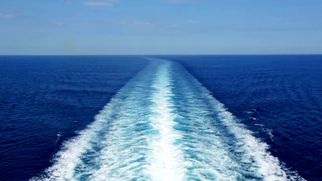 HD Cruise ship track with calm sea and clear sky