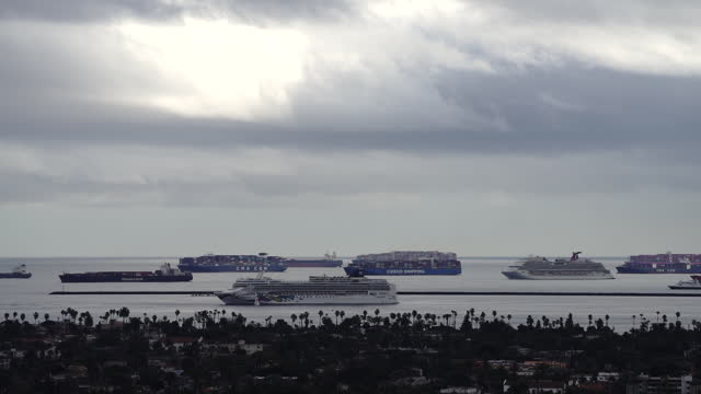cruise ships, cargo ships and tankers anchored offshore due to record ship bottleneck. ship congestion around the ports of los angeles and long beach... - port of los angeles stock videos & royalty-free footage