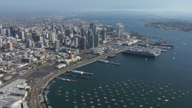 vidéos et rushes de cruise ships wait in port in san diego, california. - san diego