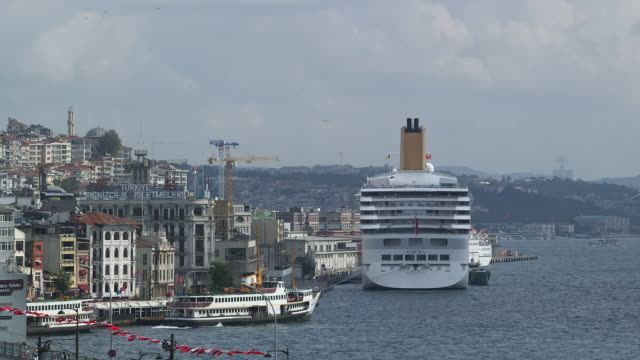 cruiseliner in port at galata - wiese stock videos & royalty-free footage