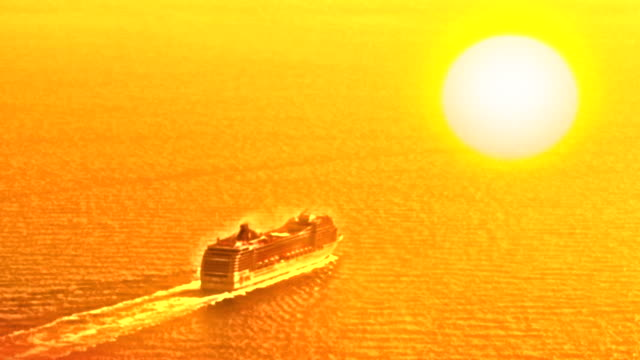 hd: cruising ship at sunset - digital enhancement stock videos and b-roll footage