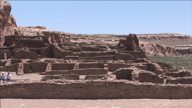 crumbled stone ruins remain at the site of chaco culture national historical park. - chaco culture national historical park stock videos & royalty-free footage