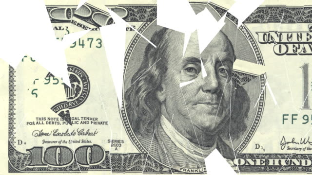 crumbling $100 dollar bill - devaluation stock videos and b-roll footage