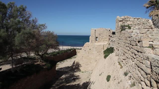 crusader walls, moat, caesarea, israel - moat stock videos & royalty-free footage