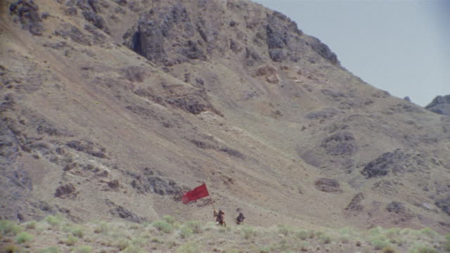 REENACTMENT MS CU Crusaders traversing mountains in Middle Ages / Iran
