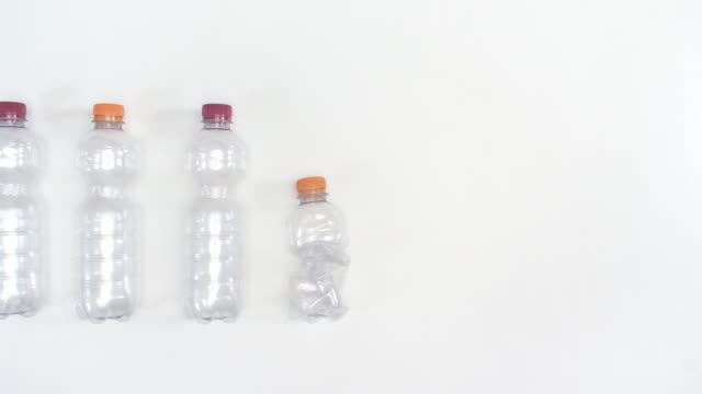 crushed plastic bottle/ debica/ poland - bottle stock videos & royalty-free footage