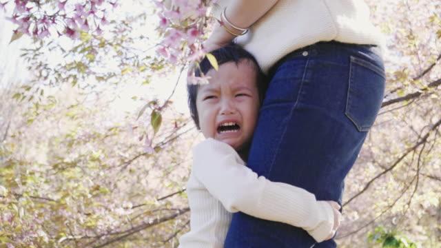 vídeos y material grabado en eventos de stock de niño llorando y abrazando a su madre en la bolsa de jardín-video - 2 3 años