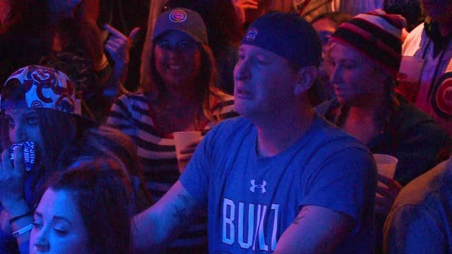 WGN Crying Cubs Fan in Cubby Bear Bar After the Chicago Cubs Won their First MLB National League Championship Series and advanced to the World Series...