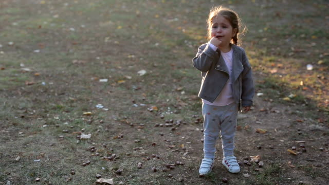 crying toddler in the park - sulking stock videos & royalty-free footage
