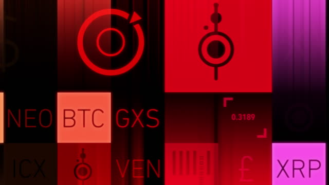 cryptocurrency market symbols - financial technology stock videos & royalty-free footage