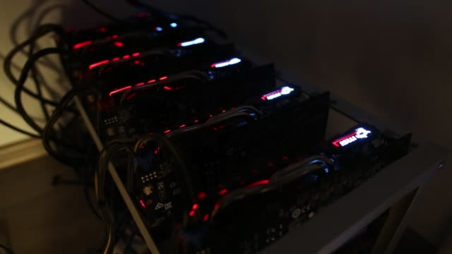 cryptocurrency mining machines sit in operating racks at the home of dmitry gutov a russian cryptocurrency 'miner' in krasnogorsk russia on thursday... - cryptocurrency mining stock videos & royalty-free footage