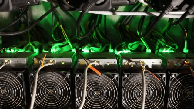 cryptocurrency mining rigs operate in a cargo container at the golden fleece cryptocurrency mining company in kutaisi georgia on monday jan 22... - cryptocurrency mining stock videos & royalty-free footage