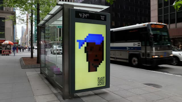 cryptopunk digital art non-fungible token is displayed on an electronic billboard at a bus shelter in midtown manhattan on may 11, 2021 in new york... - computer graphic stock videos & royalty-free footage