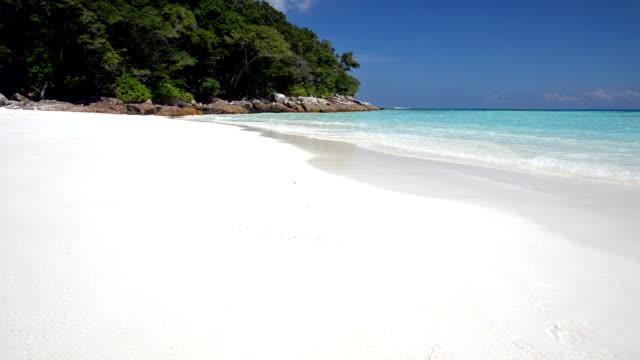 crystal clear sea and white sand beach at tachai island, andaman, thailand - andaman sea stock videos & royalty-free footage