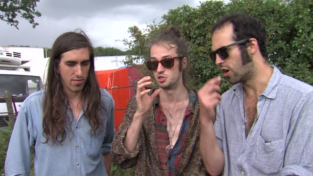 crystal fighters on getting stung by a wasp in the mouth at the the big chill festival at ledbury england. - w.a.s.p. band stock-videos und b-roll-filmmaterial