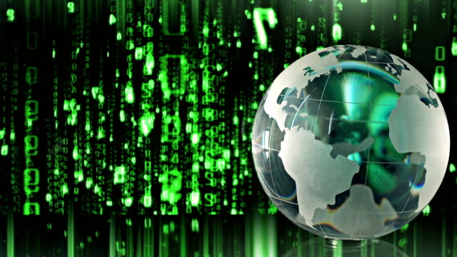 crystal globe and binary code - crystal ball stock videos & royalty-free footage