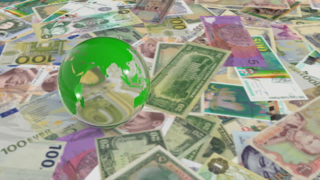CGI Crystal globe rolling over plane covered with banknotes
