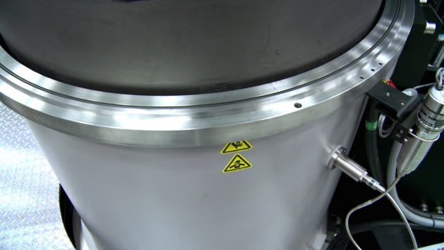 cu tu crystal growing furnace tank with crucible filled with silicon for czochralski process, solar manufacturing plant solarworld, hillsboro, oregon, usa - plant process stock videos & royalty-free footage