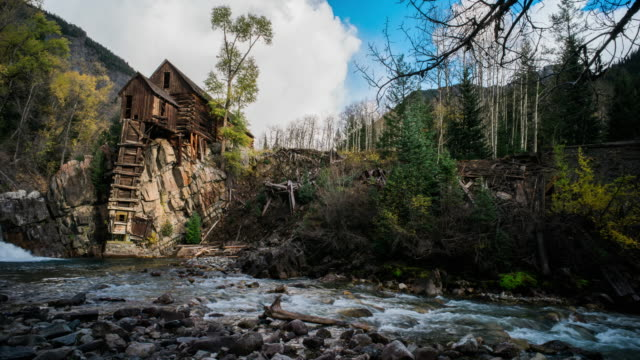 crystal mill, travel and time-lapse through colorado in the fall - watermill stock videos & royalty-free footage