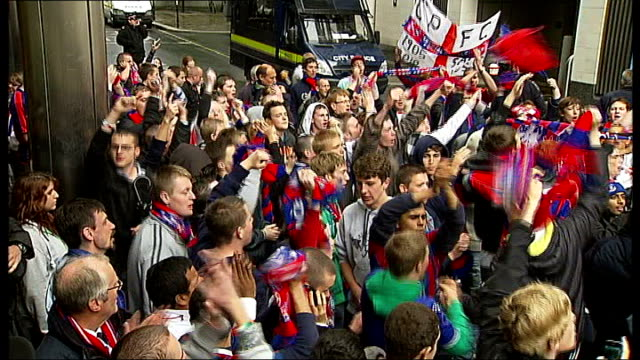 crystal palace fc saved from liquidation crystal palace fans celebrating on street - liquidation stock videos and b-roll footage