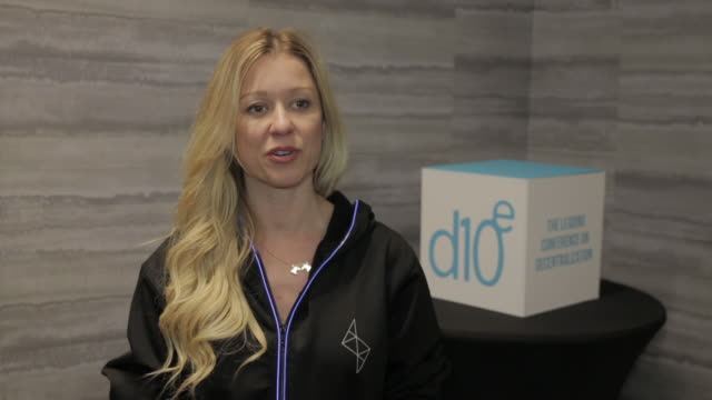 crystal rose, co-founder of sensay talks about the speculative nature of the media at the d10e conference in silicon valley, california on february... - interview raw footage stock videos & royalty-free footage