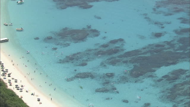 AERIAL Crystal-clear Water Beach On Tokashiki Island, Okinawa