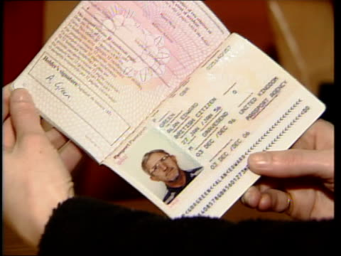 css fake passport used by noye in name 'alan green' - kenneth noye stock videos & royalty-free footage