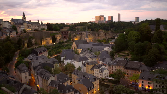 cty of luxembourg at sunset - luxembourg benelux stock videos & royalty-free footage