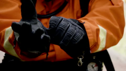 cu : protective glove - firefighter stock videos & royalty-free footage