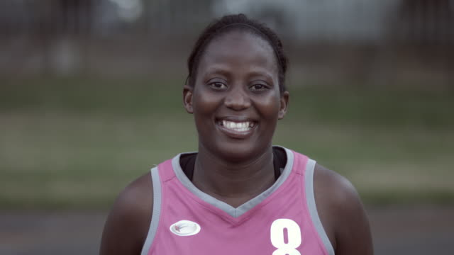 cu_portrait of female basket player laughing to camera - adult stock videos & royalty-free footage