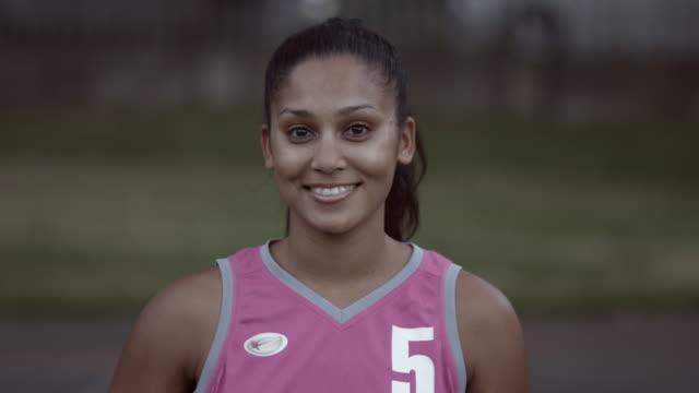 CU_Portrait of female basket player smiling to camera