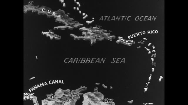 vidéos et rushes de map 'cuba caribbean sea puerto rico' highlighting britain empire - cuba