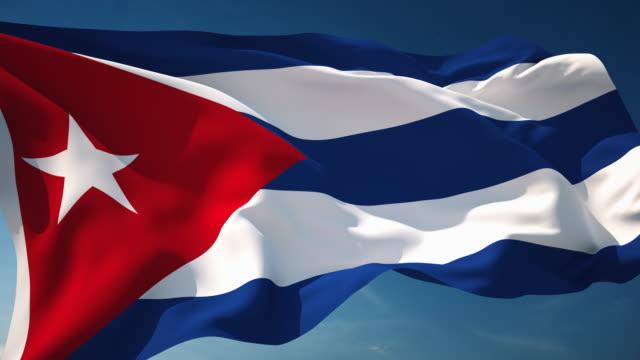 4 k kuba flagge-schleifen einsetzbar - fahnenstange stock-videos und b-roll-filmmaterial