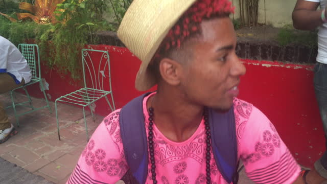 cuba rhumba players or musicians rehearsing in a spanish colonial house backyard / they play along with villy carbonell a popular character known as... - santiago de cuba stock videos and b-roll footage