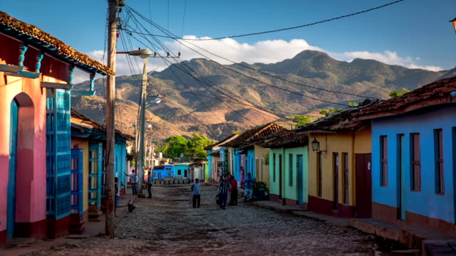 cuba: travel : colourful houses in trinidad, cuba - cuba stock videos and b-roll footage
