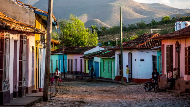 cuba: travel : colourful houses in trinidad - caribbean stock videos and b-roll footage