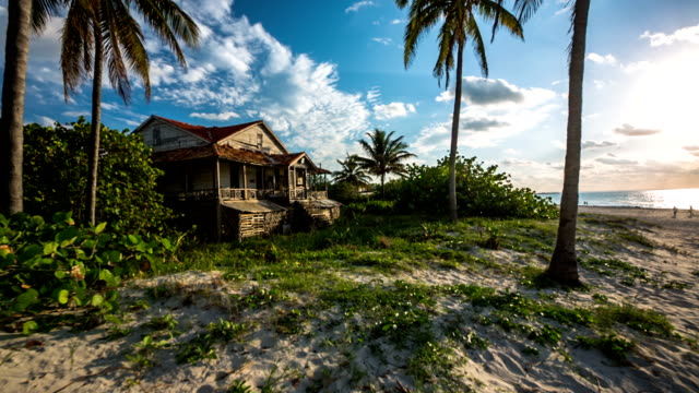 cuba: travel : steadicam shot old beach house on tropical bach - cuba stock videos & royalty-free footage