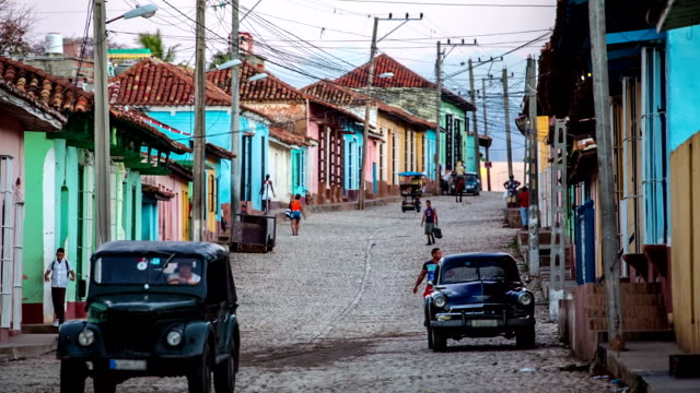 cuba: travel : vintage cars on street in trinidad old town, cuba - cuba stock videos & royalty-free footage