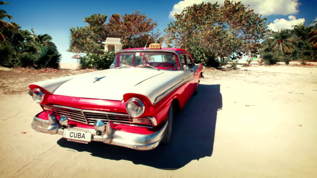 Cuba - Vintage car on beach