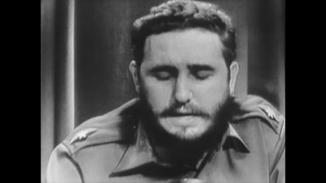 image of fidel castro speaking about human rights and communism historic footage of the first years of the cuban revolution historical audio is... - 1959 stock videos & royalty-free footage