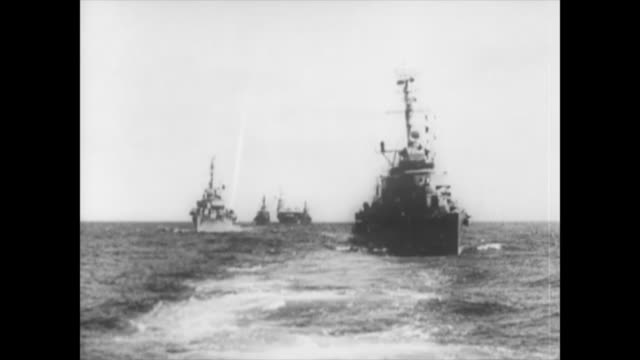 stockvideo's en b-roll-footage met ships of the usa and the soviet union come close to a military encounter during the october crisis. historic footage of the first years of the cuban... - cuba